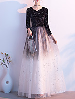 cheap -A-Line Glittering Minimalist Wedding Guest Formal Evening Dress V Neck Long Sleeve Floor Length Tulle Velvet with Sequin 2020