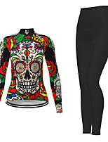 cheap -21Grams Women's Long Sleeve Cycling Jersey with Tights Winter Polyester Red Novelty Skull Bike Jersey Tights Clothing Suit Breathable Quick Dry Moisture Wicking Back Pocket Sports Novelty Mountain