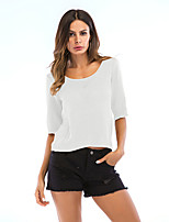 cheap -Women's T-shirt Solid Colored Round Neck Tops Loose Cotton Basic Basic Top White Black Red