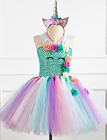 cheap -Unicorn Dress Girls' Movie Cosplay Vacation Dress New Year's White / Purple / Pink Dress Headwear Christmas Halloween Carnival Polyester / Cotton Polyester