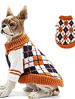 cheap -knitted high collar diamond plaid cat dog sweater, cat dog accessories, cat dog apparel, pet sweatshirt
