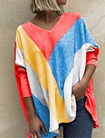 cheap -Women's T-shirt Color Block Long Sleeve Patchwork Print V Neck Tops Batwing Sleeve Basic Basic Top Purple Red Orange