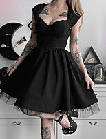 cheap -Goth Girl Gothic Goth Subculture Summer Party Costume Masquerade Women's Costume Black Vintage Cosplay Club Bar Short Sleeve / Dress