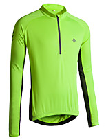 cheap -KORAMAN Men's Long Sleeve Cycling Jersey Winter Polyester Red Blue Green Solid Color Bike Jersey Top Mountain Bike MTB Road Bike Cycling Breathable Quick Dry Reflective Strips Sports Clothing Apparel