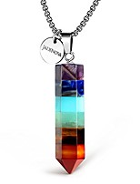 cheap -7 chakra necklace pendant hexgonal energy healing gemstone crystal dowsing divination pendulum 18 inches stainless steel chain