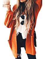 cheap -Women's Basic Long Pocket Knitted Solid Color Plain Cardigan Long Sleeve Sweater Cardigans Open Front Spring Fall Orange