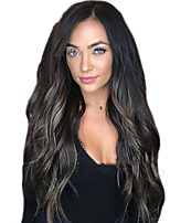cheap -Synthetic Wig Body Wave Asymmetrical Wig Very Long Dark Brown Synthetic Hair 28 inch Women's Ombre Hair Romantic Fluffy Brown