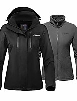 cheap -women's 3-in-1 ski jacket - winter jacket set with fleece liner jacket & hooded waterproof shell - for women (black,m)