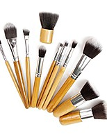 cheap -11pcs makeup brush set kit professional bamboo handle kabuki foundation blending blush concealer eye face liquid powder cream cosmetics brushes kit with bag