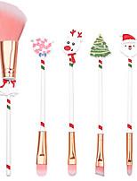 cheap -5 Pcs/set Professional Makeup Brushes Full Coverage Aluminium Alloy Christmas Gift Elk Makeup Brush for Beginner Eyebrow Brush Set Beauty Tools