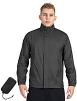 cheap -men's lightweight raincoat packable rain jacket waterproof raincoat with hood active outdoor windbreaker (black new, l (chest: 42-44))