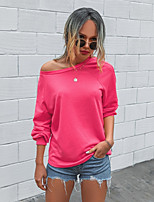 cheap -Women's T-shirt Solid Colored Long Sleeve Patchwork Round Neck Tops Loose Basic Basic Top White Blushing Pink