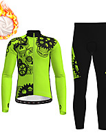 cheap -21Grams Men's Long Sleeve Cycling Jacket with Pants Winter Fleece Polyester Black Green Skull Gear Funny Bike Clothing Suit Thermal Warm Fleece Lining Breathable 3D Pad Warm Sports Skull Mountain