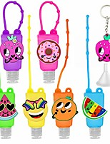 cheap -6pcs kids empty hand sanitizer holder keychain carrier travel size bottle with silicone case leak proof refillable portable containers, flip cap, liquid soap, lotion