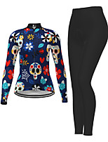 cheap -Women's Long Sleeve Cycling Jersey with Tights Dark Blue Skull Floral Botanical Bike Breathable Quick Dry Moisture Wicking Sports Skull Mountain Bike MTB Road Bike Cycling Clothing Apparel