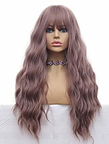 cheap -long wave wigs light purple mix yellow color hair thin bangs full heat resistant synthetic wig for women 28 inches natural curly wave air bang replacement wig for party cosplay body wavy wisteria