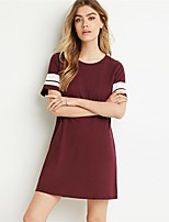 cheap -Women's Tunic Color Block Round Neck Tops Basic Basic Top Black Wine