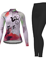 cheap -21Grams Men's Women's Long Sleeve Cycling Jersey with Tights Winter Polyester Red Novelty Bike Jersey Tights Clothing Suit Breathable Quick Dry Moisture Wicking Back Pocket Sports Novelty Mountain