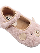cheap -Girls' Flats Comfort Faux Fur Little Kids(4-7ys) Walking Shoes Black / Pink Spring / Fall