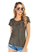 cheap -Women's Blouse Shirt Striped Print Round Neck Tops Slim Basic Basic Top Gold
