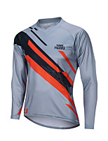 cheap -YORK TIGERS Men's Long Sleeve Cycling Jersey Downhill Jersey Grey Stripes Bike Tee Tshirt Sports Clothing Apparel / Advanced / Micro-elastic