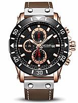 cheap -men's analog business quartz chronograph luminous watch with stylish black leather strap blue face for sports (2081 rose/black)