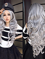 cheap -Synthetic Wig Body Wave Middle Part Wig Very Long Silver grey Synthetic Hair Women's Anime Cosplay Creative Gray