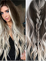 cheap -Synthetic Wig Body Wave Middle Part Wig Long Very Long Grey Synthetic Hair 65 inch Women's Party Highlighted / Balayage Hair Middle Part Dark Gray