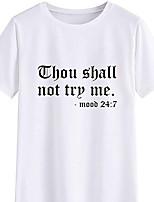 cheap -Women's T-shirt Letter Print Round Neck Tops 100% Cotton Basic Basic Top White Black Purple