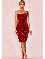 cheap -Women's Sheath Dress Knee Length Dress - Sleeveless Solid Color Patchwork Spring Strapless Sexy Going out Slim 2020 Wine S M L XL XXL