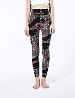 cheap -Women's Sporty Yoga Daily Skinny Leggings Pants Print Comfort High Waist Black One-Size