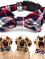 cheap -dog collar with bow tie - adjustable 100% hand made cotton design - cute fashion dog collars with bow ties for small medium large dogs - red,brown,blue,green,yellow plaid stripe pattern