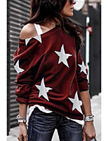 cheap -Women's Blouse Shirt Star Long Sleeve Print Round Neck Tops Loose Basic Basic Top Black Blue Red