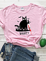 cheap -Women's T-shirt Cat Letter Print Round Neck Tops 100% Cotton Basic Basic Top White Black Blushing Pink
