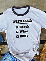 cheap -Women's T-shirt Letter Print Round Neck Tops 100% Cotton Basic Basic Top White Yellow Wine