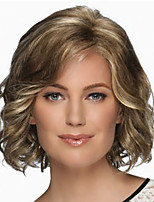 cheap -Synthetic Wig Curly Middle Part Wig Short Light Brown Dark Brown Silver grey Synthetic Hair Women's Fashionable Design Exquisite Silver Dark Brown