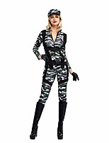 cheap -halloween women paratrooper army jumpsuit, military camouflage costume w/hat, gloves and harness (medium)