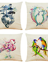 cheap -Set of 4 Art Watercolor Animal Linen Square Decorative Throw Pillow Cases Sofa Cushion Covers 18x18
