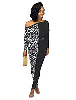 cheap -Women's Basic Leopard Casual Going out Two Piece Set Off Shoulder Crop Pant Patchwork Tops