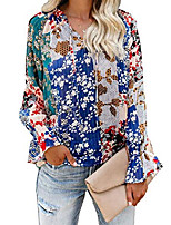cheap -women& #39;s juniors cute v neck long sleeve blouses floral printed shirts casual loose tops multicolored small