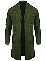 cheap -men's cardigan sweater long knit jacket solid cotton shawl collar coat