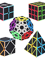 cheap -Speed Cube Set 5 pcs Magic Cube IQ Cube Carbon Fiber 2*2*2 3*3*3 Speedcubing Bundle 3D Puzzle Cube Stress Reliever Puzzle Cube Stickerless Smooth Office Desk Toys Pyramid Megaminx Skew Kid's Adults