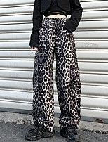 cheap -Women's Sporty Outdoor Loose Daily Wide Leg Pants Pants Leopard Full Length High Waist Black