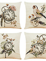 cheap -Set of 4 Classic Clock Linen Square Decorative Throw Pillow Cases Sofa Cushion Covers 18x18