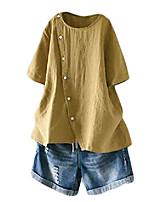 cheap -women's linen blouse tunic short sleeve shirt tops with buttons decoration yellow 2xl