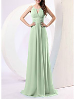 cheap -Sheath / Column Elegant Minimalist Prom Formal Evening Dress Spaghetti Strap Sleeveless Sweep / Brush Train Chiffon with Sleek Ruched 2020