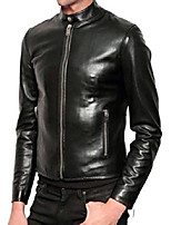 cheap -men's black slim fit shiny biker leather jacket