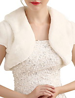 cheap -Short Sleeve Shawls Faux Fur Wedding Women's Wrap With Lace-up