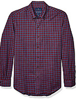 cheap -amazon brand - men's tailored fit supima cotton brushed twill plaid sport shirt, burgundy/blue check x-large tall