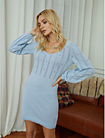 cheap -Women's Sweater Jumper Dress Short Mini Dress - Long Sleeve Solid Color Jacquard Fall Winter Boat Neck Work Elegant Going out 2020 Blue S M L XL